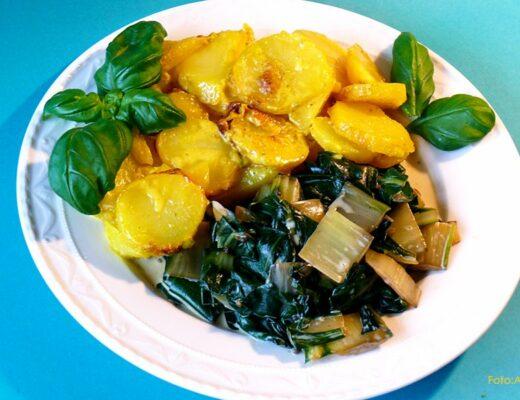 Mangold mit Kartoffelauflauf ayurvedisch