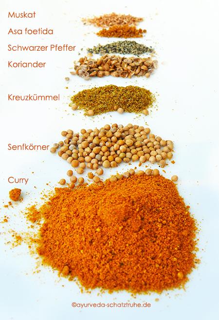 gewürze für schmorgurken curry auf weißem teller