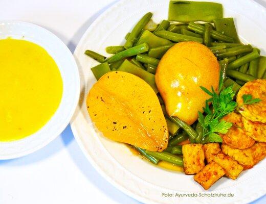 Birnen-Bohnen und Tempeh