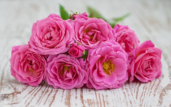 rosenbouquet sieben pinkfarbene rosen auf holzbrett