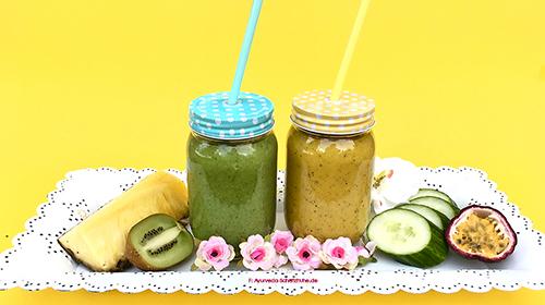 smoothies fuer pitta gruen und gelb im glas